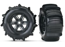 Traxxas X-Maxx Pre-Mounted Paddle Tires & Black Wheels (2) - TRA7773
