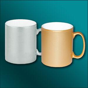 Keramiktasse im Metallic-Look mit eigenem Druck, Bild, Foto oder Spruch