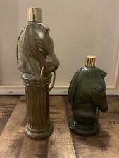 Vintage Avon Bottle ~ Horse Head Hitching Post Green Glass Lot Of 2