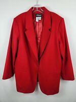 Sag Harbor Wool Blazer Red One Button Women's Size 22W