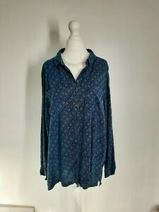 Fat Face Women's Blouse Tunic Top  Blue Button Down Aztec UK 16 Chambray Casual