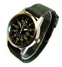 AVIATOR's 42mm PILOT's Steel Army Military Sport Date GREEN Canvas Strap Watch