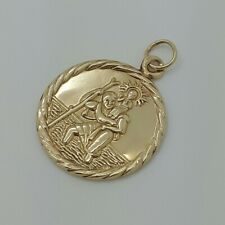 9ct Yellow Gold Lightweight Double Sided Saint Christopher Pendant *no chain