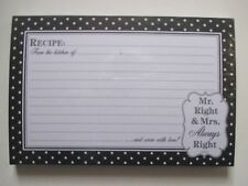 Mr Mrs Right  Lined RECIPE CARDS 36 4x6 cookbook chef cook book bridal shower
