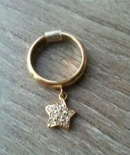 Bague fantaisie  dorée  étoile strass 56, Camille  et  Lucie , neuve!