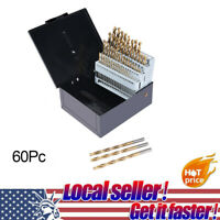 60pc Drill Bit Set M2 HSS High Speed Steel Bits Numbered #1-60 Metal Case US