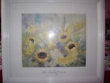 """Gemälde ,Kunstdruck - """" Sonnenblumen mit Feldkamillen """"  in Weiß . W.Roelogs"""
