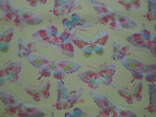 BUTTERFLY GLITTER BRIGHT COLORS YELLOW BUTTERFLIES COTTON FLANNEL FABRIC FQ