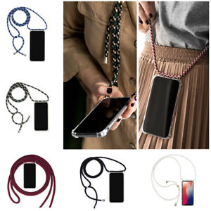 Soft TPU Protective Cover Clear Phone Case with 2 Lanyard Strap Crossbody Case