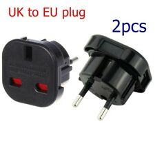 2pc Universal UK to EU Euro Europe AC Power Wall Plug Converter Travel Adapter