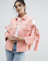 ASOS Womens Denim Cold Shoulder Bow /Tie Sleeves  Snap Button Jacket Coral 8 Nwt