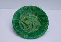 Antique Majolica Plate Green German Schramberg Majolica Leaves Art Nouveau 1800s