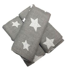 1pcs LARGE 70X80 CM STARS COTTON BABY MUSLIN SQUARES CLOTHS COMFORTER BURP TOWEL