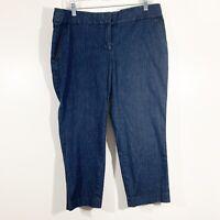 Ann Taylor LOFT Size 12 Womens Dark Wash Denim Marisa Crop Pants Cotton Stretch