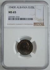 "Albania 0.05 lek 1940, NGC MS65, ""Italian occupation (1939 - 1943)"""