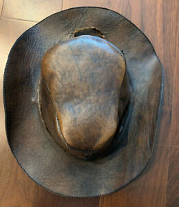 Cusco Brown Leather Embossed Hat Handmade Peruvian/ Peru Vintage Ship Fast USA