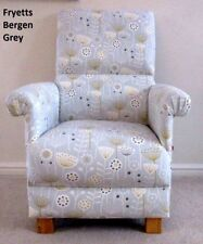 Fryetts Bergen Grey Fabric Adult Chair Armchair Mustard Floral Accent Nursery