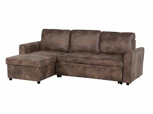 Faux Leather Corner Sofa Bed Storage Brown Polyester Cushion Back Nesna