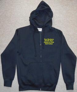 New Custom Printed Text Personalised ZIP UP HOODIE Quality Work Wear Uniform