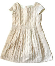 BONPOINT Sz 12 Girls' Pale Pink Short-Sleeved Party Dress, Textured, Button-Back