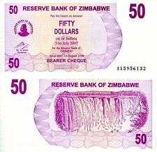 ZIMBABWE 50 Dollars Banknote World Paper Money aUN Currency PICK p41 2006 Cheque