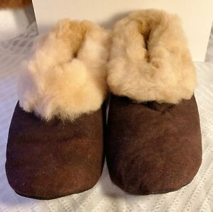 "Handmade Peruvian Unisex Baby Alpaca Leather Slippers Booties""Beige""Choose Size"
