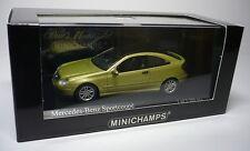 1 MERCEDES BENZ C-CLASS 2001 SPORT COUPE LIGHT GREEN METALLIC 1:43 MINICHAMPS