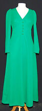 AMAZING VINTAGE 1960's APPLE GREEN CRIMPLENE MAXI DRESS 10
