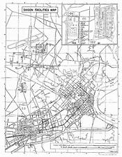 Saigon Facilities Map - reprint of 1960s era military map MACV