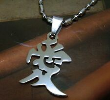 Stainless Steel Pendant Chain Necklace Kanji Chinese Character Love Affection