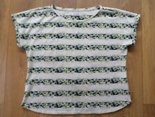 MARKS AND SPENCER PER UNA NAVY & IVORY FLORAL TOP SIZE 18