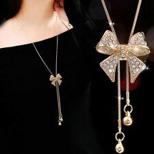 BEAUTIFUL Gold Bow Necklace UK Seller - Crystal Rhinestones Adjustable Length