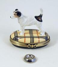 New French Limoges Box Cute Jack Russell Terrier Dog Puppy on Designer Plaid