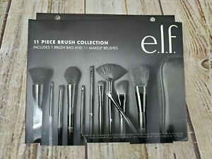E.L.F. 11 Piece Makeup Brush Collection With Travel Bag New