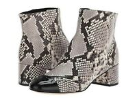 TORY BURCH SHELBY BLACK WHITE LEATHER SNAKE PRINT ANKLE BOOT 6.5 M LN WORN ONCE