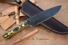HAND FORGED 1095 STEEL ACID FINISH 11 INCH HUNTING CAMPING BUSHCRAFT KNIFE WOOD