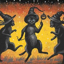 8X8 PRINT OF PAINTING RYTA HALLOWEEN BLACK CAT WITCH ART DECORATION BAT COSTUME