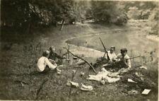 HUNTERS PICNIC TEENAGE BOYS W/RIFLES & ca 1916 MOUNTED PHOTO, FALCONER, NY