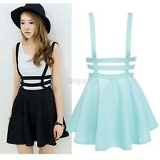 Mini Skater Suspender Skirt Women's Straps Hollow Cute Retro High Waist Dress
