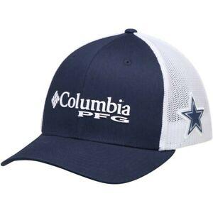 Columbia Dallas Cowboys Men's Navy Blue White PFG Mesh Flex-Fit Hat CapSize S/M
