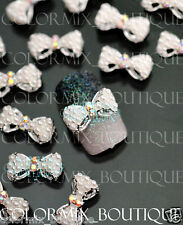 10pcs 3D Nail Art Decoration Pearl Bow Alloy Jewelry Glitter Rhinestone #CA065