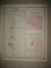 ANTIQUE 1874 DURHAM CLINTON MORGAN SCHOOL MIDDLESEX COUNTY CONNECTICUT MAP RARE