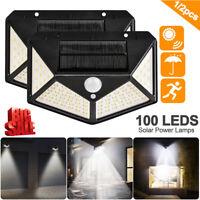 100LED Solar Power PIR Motion Sensor Waterproof Wall Light Outdoor Garden Lamp t