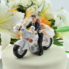 Sexy Biker Bride and Groom Riding Motorbike Wedding Cake Topper