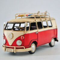 Jayland Handcrafted 1966 VW Deluxe Bus in Red and white - Tinplate Model GIFT