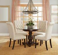 NEW Traditional Dining Room 5 piece Round Glass Top Table & Beige Chairs Set C7J