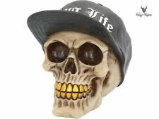 Thug Life Skull Gangster Skull Figurine With Hat Gold Teeth Home Decor K3108H7