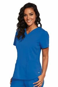 """Barco Motion Style MT001 V-Neck Detailed Scrub Top in """"Royal"""" Size L"""