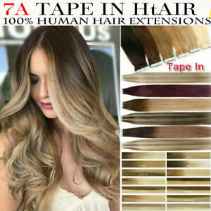 """8A* Beauty Remy 14''-24"""" Tape-In Russian Remy Human Hair Extensions UK Sell 1st"""