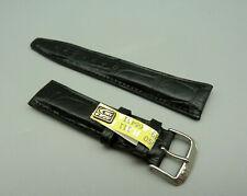 RRBC Orig KAUFMANN Armband ALLIGATOR Schwarz leather strap 20mm TOP unbenutzt
